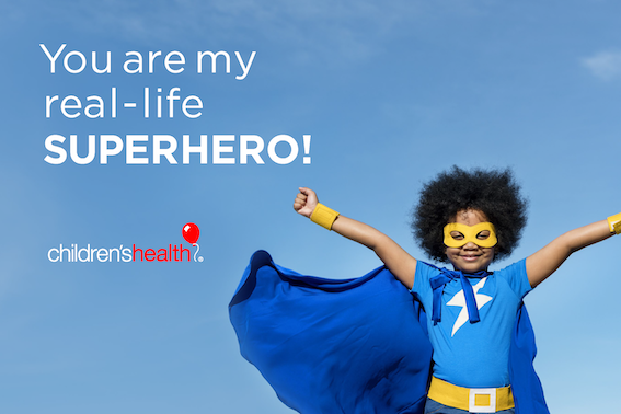 Superhero girl with message: You are my real-life superhero!